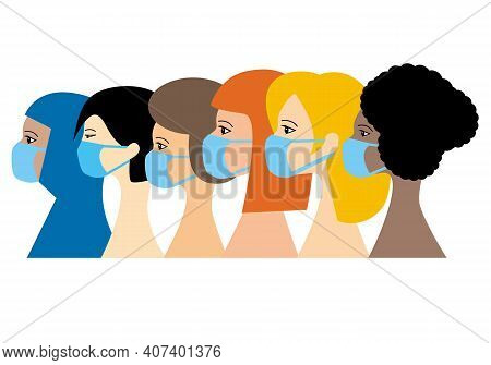 Portraits Of A Group Of 6 Women Representing The Continents Of The World Wearing Medical Face Mask.