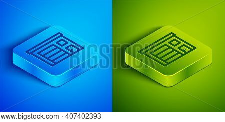 Isometric Line Building Of Fire Station Icon Isolated On Blue And Green Background. Fire Department