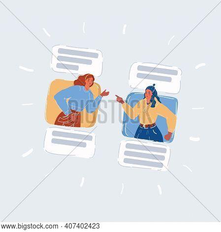 Vector Illustration Of Angry Women Arguing Online On White Backround.