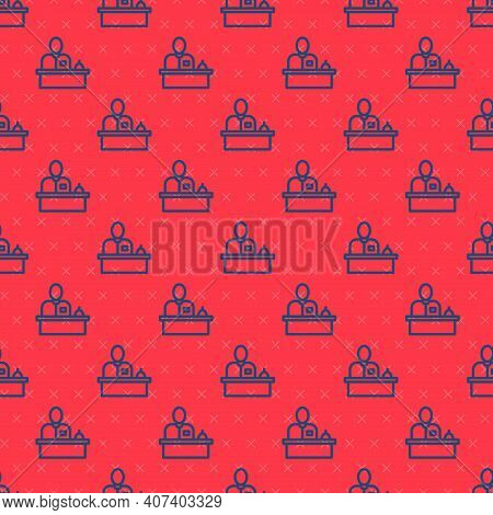 Blue Line Receptionist Standing At Hotel Reception Desk Icon Isolated Seamless Pattern On Red Backgr