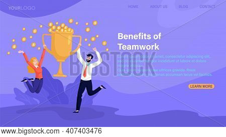 Benefits Of Teamwork, Work Success, Business Triumph Concepts Multiethinc Male And Female Characters