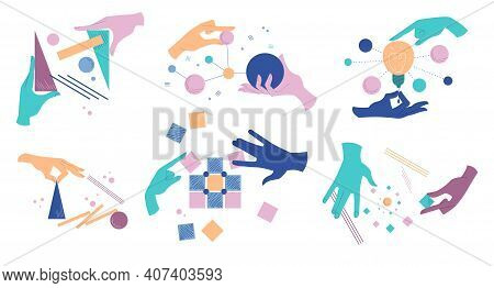 Collection Of Cartoon Human Hands With Different Abstract Geometric Shapes. Arms Holding Figures. Se