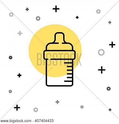 Black Line Baby Bottle Icon Isolated On White Background. Feeding Bottle Icon. Milk Bottle Sign. Ran