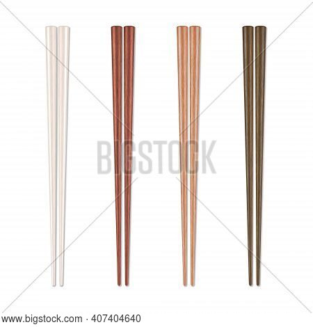 Vector 3d Realistic Wooden Chopsticks Set Closeup Isolated On White Background. Design Template Of F