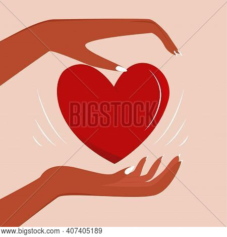 Flat Vector Illustration Of Hands Holding A Heart. The Concept Of A Helping Hand. The Concept Of Cha