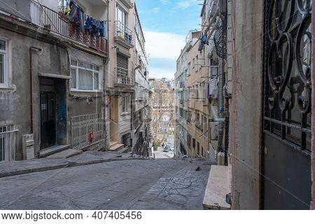 View Of A Narrow Street With Apartment Blocks Around In Beyoglu Istanbul
