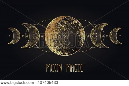 Moon Magic. Triple Moon Pagan Wicca Moon Goddess Symbol. Three-faced Goddess. Maiden, Mother, Crone