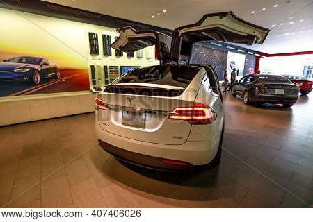 Los Angeles, California, United States Of America - August 21, 2018: Tesla Electric Model X Suv With
