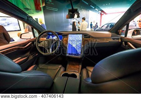 Los Angeles, California, United States Of America - August 21, 2018: Interior Of Tesla Electric Mode