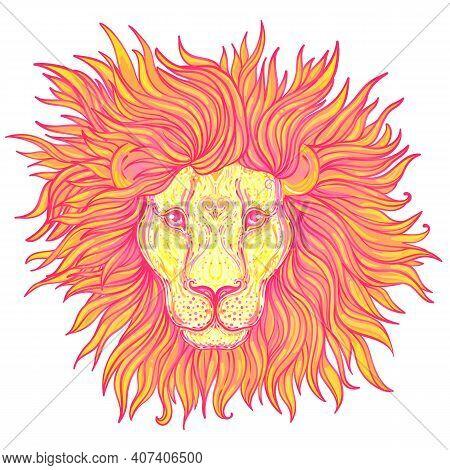 Patterned Ornate Lion Head. African, Indian, Totem, Tattoo, Sticker Design. Design Of T-shirt, Bag,