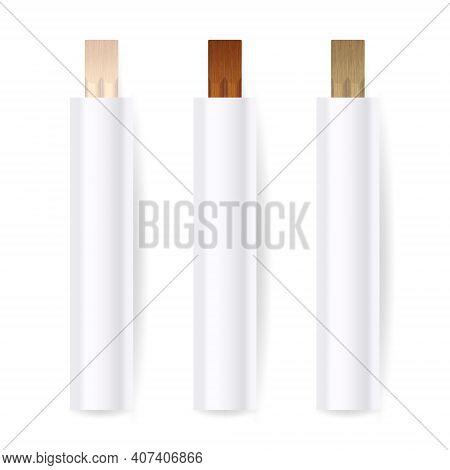 Vector 3d Realistic Wooden Chopsticks, White Blank Package Set Closeup Isolated On White Background.