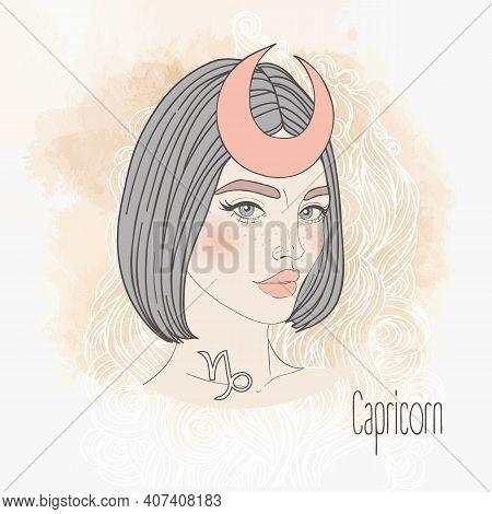 Zodiac Illustration Of Capricorn Zodiac Sign As Beautiful Girl Isolated On White. Vector Zodiac Art.