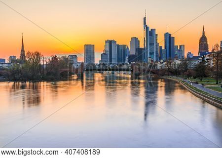 Sunset Over The Frankfurt Skyline In Spring. Skyscrapers And Skyscrapers From The Financial And Busi