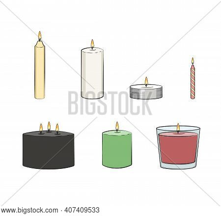 Candle Simple Illustrated Set. Vector Candles: Long Stick, Jar, Pillar Candle, Container Candle, Tea