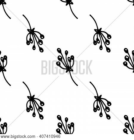 Floral Seamless Pattern Of Twigs With Berries Black Outline On White Background. Natural Simple Berr