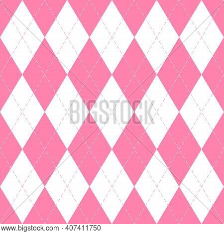 Valentines Day Argyle Plaid. Scottish Pattern In Pink And White Rhombuses. Scottish Cage. Traditiona