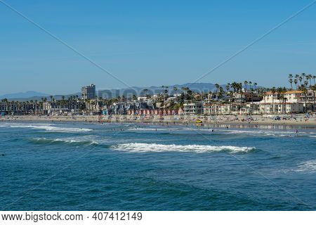 Beautiful Summer Day At Oceanside Beach In San Diego, California.