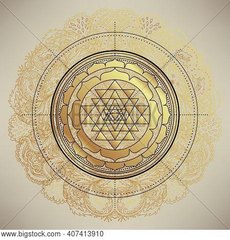The Sri Yantra Or Sri Chakra, Form Of Mystical Diagram, Shri Vidya School Of Hindu Tantra Symbol. Sa