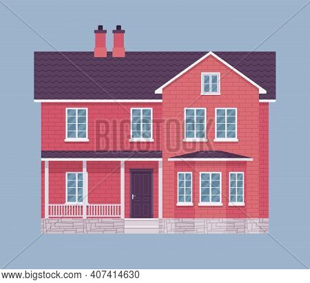 Red Brick Mansion House Facade, Exterior. Architectural Building Industry, Weather Protection And Fi