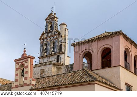 Ecija, Spain - 1 February, 2021: The Chruch Of San Francisco At The Plaza De Espana In Downtown Ecij