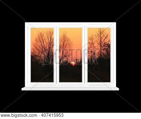 White Window With Sunset Beyond Isolated On Black Background. View From Home Window At Sunset. Eveni