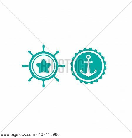 Blue Nautical Labels Set. Helm And Anchor Isolated On White. Ship And Boat Steering Wheel Sign. Rudd