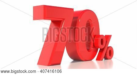 Sale 70% Special Offer Isolated On White Background. 70% Off Discount Promotion. 3D Illustration.