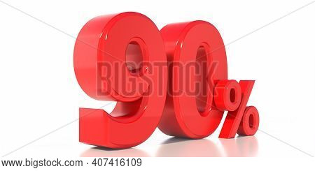 90%. 90 Percent Text Isolated On White Background. 3D Illustration