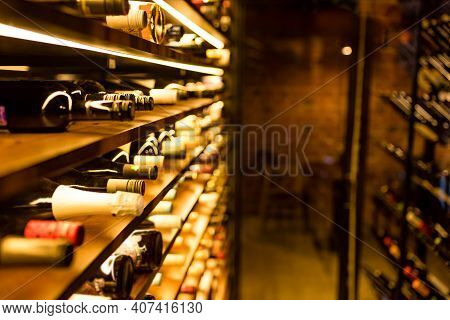 Bottles Of Old Beautiful Wine In A Warehouse In A Store