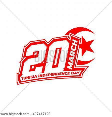 Tunisia Independence Day Design. Typography Number Of 20 Vector Illustration. Good Template For Tuni