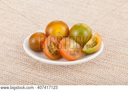 Bowl With Cherry Tomatoes - Solanum Pimpinellifolium.