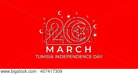 Tunisia Independence Day With Moon And Star Design. Typography Number Of 20 Vector Illustration. Goo