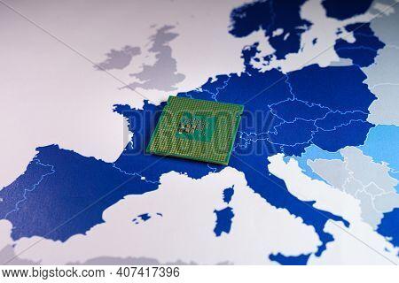 Europe Made Cpu Chip On A Eu Map