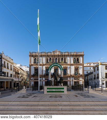 Ronda, Spain - 1 February, 2021: View Of The Hercules Fountain In The Socorro Square In Downtown Ron