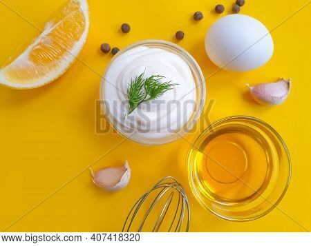 Fresh Mayonnaise On Colored Background Appetizer Creative