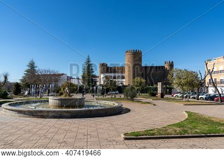 Zafra, Spain - 29 January 2021: View Of The Castle Of Zafra And The City Park In The City Center