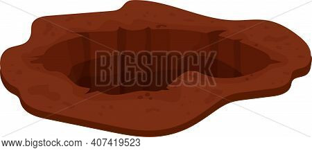 Hole, Pit In Ground In Cartoon Style Isolated On White Background Stock Vector Illustration. Entranc
