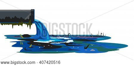 Industrial Pipe On Side View Discharge Wastewater Isolated Concept Illustration, Ecological Disaster