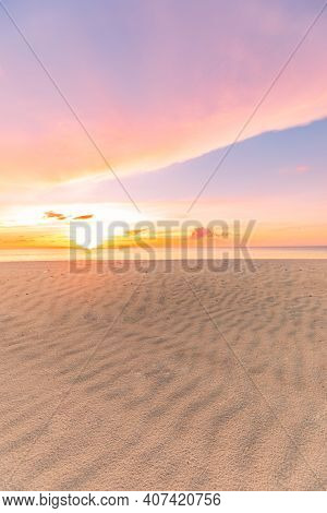 Colorful Ocean Beach Sunrise With Deep Blue Sky And Sun Rays. Landscape Of Paradise Tropical Island