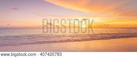 Colorful Ocean Beach Sunrise With Deep Blue Sky And Sun Rays. Landscape Of Paradise Tropical Island