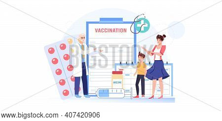 Vector Cartoon Flat Patients, Doctor Characters.physician Character Prescribes Vaccination To Family