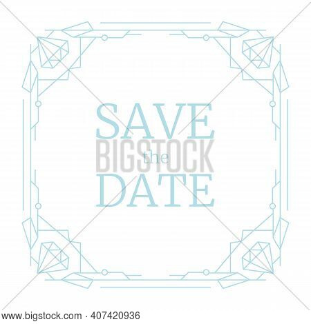 Vector Illustration Wedding Invitation, Retro Line Geometric Frame. Blue Linear Art Deco Geometry Pa