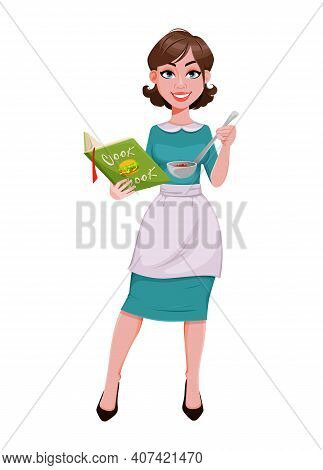 Young Cheerful Housekeeper, Mother, Beautiful Successful Woman. Cheerful Lady In Apron Cooking. Stoc