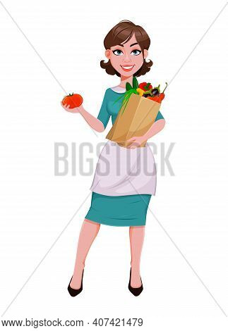 Young Cheerful Housekeeper, Mother, Beautiful Successful Woman. Cheerful Lady In Apron Holding Paper