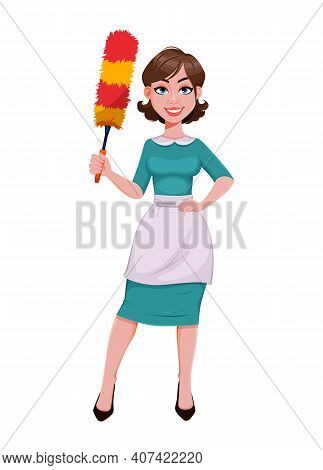 Young Cheerful Housekeeper, Mother, Beautiful Successful Woman. Cheerful Lady In Apron Holding Dust