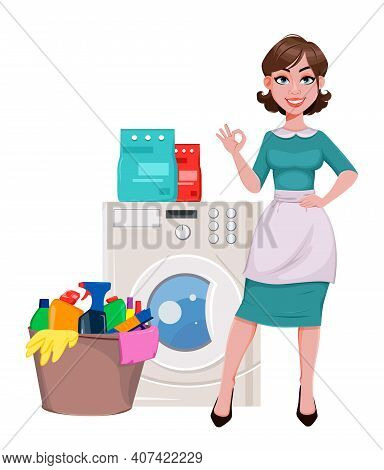 Young Cheerful Housekeeper, Mother, Beautiful Successful Woman. Cheerful Lady, Housewife In Apron Wa