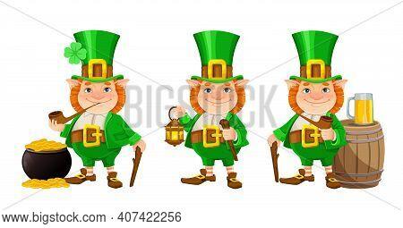Stock Vector Leprechaun. Happy St Patrick's Day. Cheerful Leprechaun Cartoon Character, Set Of Three