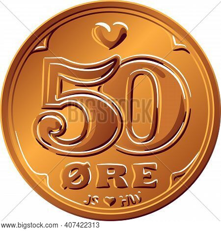 Obverse Of Danish Money Tin-bronze 50 Ore Coin. Krone, Official Currency Of Denmark, Greenland, And