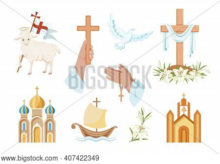 Religious Christian Signs And Symbols. Set Of Colorful Icons.  Church, Hands Holding  Cross, Dove Wi