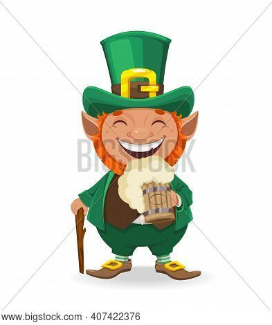 Stock Vector Leprechaun. Happy St Patrick's Day. Cheerful Leprechaun Cartoon Character Holding A Mug